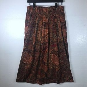 Orvis 8 Petite Paisley Maxi Pleated Pockets Skirt